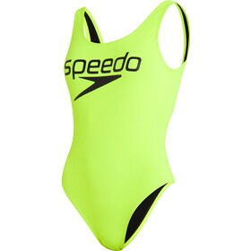 speedo Logo Deep U-Back Swimsuit Women, revlogo fluo yellow/black